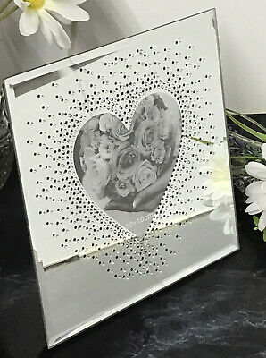 £8.89 • Buy New 10x10cm Glamorous Mirror  Diamond Glass Mirrored Photo Frame Home Decor Gift