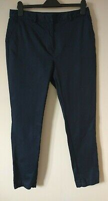 White Stuff Navy Blue Rockabilly Tapered Slim Cigarette Pants Trousers 10 12 • 9.99£