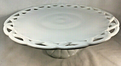 $39.95 • Buy Vintage COLONY LACE White MILK GLASS Pedestal CAKE PLATE STAND 14 Inch, Lattice