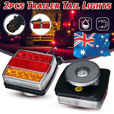 AU49.89 • Buy Pair Magnetic 16LED Trailer Towing Light Rear Tail Board Lamp Truck Trailer AU