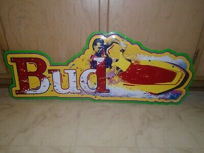 $ CDN90.96 • Buy Rare Vintage Budweiser Bud Metal Tin Beer Sign Jet Ski Used