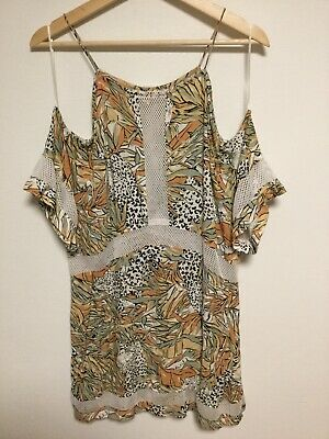 AU39 • Buy Zulu & Zephyr Leopard Floral Pattern Cold Shoulder Dress Size 10 Khaki