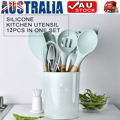 AU35.61 • Buy 12pcs/set Non-Stick Silicone Kitchen Utensil Spatula Spoon Cooking Tool Cookware