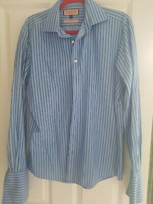Thomas Pink Slim Fit Navy Striped Double Cuff Shirt. Size 15.5. Great Condition • 0.99£