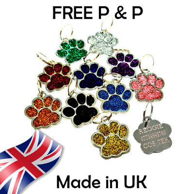 £2.70 • Buy Personalised Puppy Pet Paw ID Tags Dog ID / Cat ID Bling Tag Name ENGRAVING