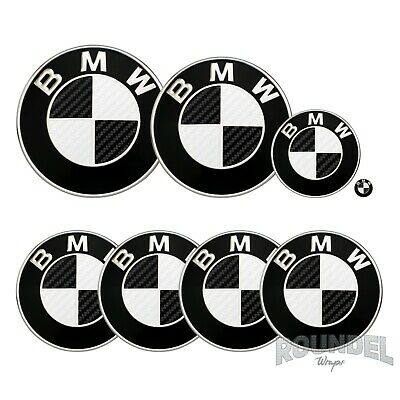 £7.99 • Buy For BMW Badge Satin Carbon Fibre Black & White All Models Decals Sticker Overlay