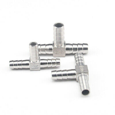 Stainless Steel Barbed T Piece 3-Way Hose Joiner Connector Fuel Air Gas Oil Pipe • 5.15£