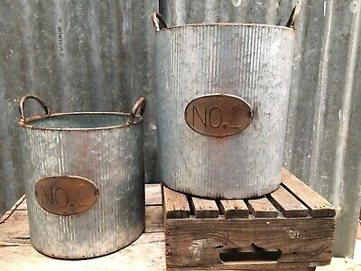 Shabby Chic Vintage Look Galvanised Steel Pots With Handles   • 14.99£