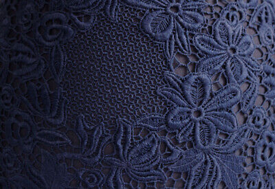 Elegant Floral Polyester Guipure Cut Edge Lace Dress Fabric Material (Navy Blue) • 6.99£