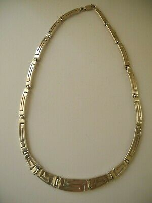 Vintage Chunky Heavy Sterling Silver 925 Greek Key Collar Panel Necklace 37g • 44.99£