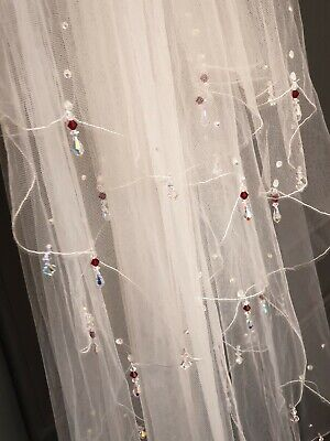 Ivory/off White Fingertip 2 Tier Wedding Veil With Drop Crystals 100cm With Comb • 29£