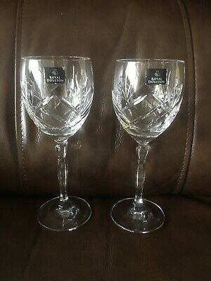 Royal Doulton Crystal Water/Red Wine Goblet Glasses - Set Of 2 • 6.99£