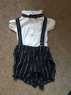 Baby Boy 3 Piece Suit; Shorts, Shirt And Bow Tie, 12-18 Months, Next • 1.30£