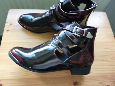 Ladies Womens 2 Tone Burgundy Fashion Ankle Boots Size 42 From Essentiel • 4.99£