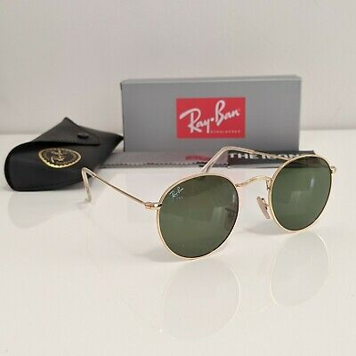 AU59.90 • Buy RayBan Round 50mm Metal Sunglasses - Gold Green Classic G-15 Lens RB3447 50-21