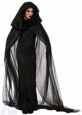 Womens Wicked Witch Costume Halloween Vamp Bride Hooded Cape Fancy Dress • 14.59£