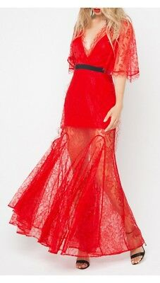 AU300 • Buy As New Alice Mccall Look Good Feel Good Gown Red Lace Dress Size 6 Rrp$490