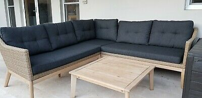 AU990 • Buy Outdoor Patio Natural Beige Wicker Rattan Modular Lounge With Coffee Table