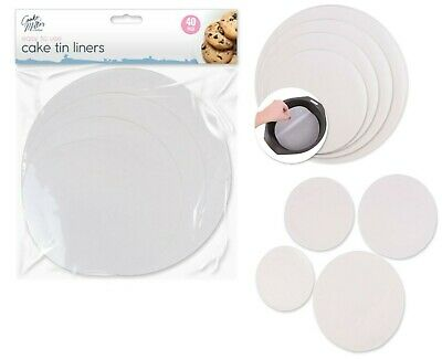 40 Pack Grease Proof Paper Circles Baking Cake Tin Liners Non Stick Parchment • 2.89£