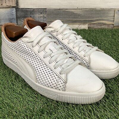 UK8 Puma Clyde Colorblock 2 Luxury White Tan Leather Trainers - Rare - EU42 • 39.99£