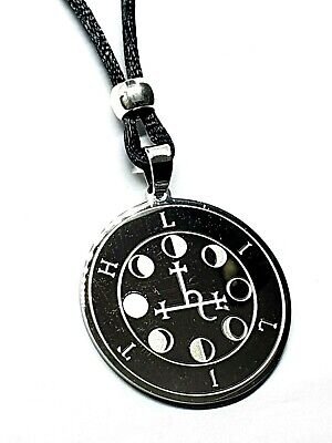 $ CDN11.06 • Buy Lilith Sigil Luciferian Satanic Moon Steel Pendant Amulet Goetia Corded Necklace