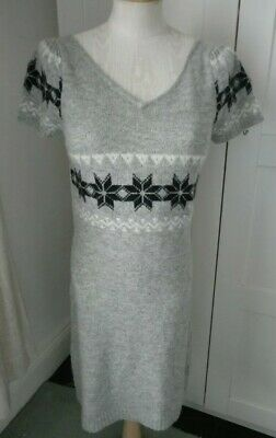 New Look Short Sleeve Grey Knitted Fairisle Style Jumper Dress Top Size 12 • 3.50£
