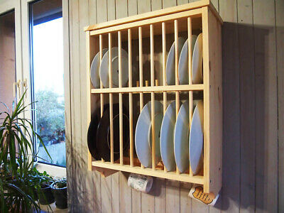 Double Kitchen Plate Rack, Solid Pine Wood, Wall Mounted Wooden ! • 57.90£