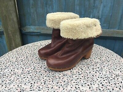 UGG - Brown Leather - Roll Top - Lynnea - Clog Boots - UK 7.5 • 0.99£