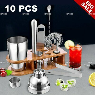 Stainless Steel Cocktail Shaker Mixer Maker Bar Drinks Gift Set Inc Stand 10PCS  • 16.99£
