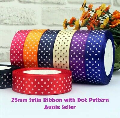 AU4.79 • Buy 25mm Satin Ribbon With Dot Pattern 3 Metres - Wrapping Scrapbook