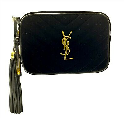 AU1155.03 • Buy Saint Laurent Ysl Marsupio Velluto Matelasse Monogram Lou Belt Bag Black 85cm