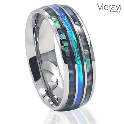 $12.95 • Buy 🔥NEW! Silver Tungsten Abalone Blue Inlay Engagement Wedding Band Mens Ring 8mm