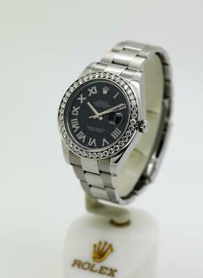 $ CDN15134.08 • Buy Men's Rolex Datejust II, 116334 41mm Black Roman Diamond Dial Diamond Bezel #W16