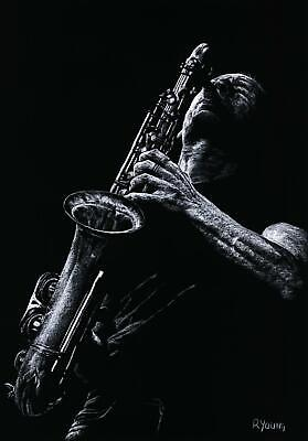 £34 • Buy Eclectic Sax - Signed Contemporary Fine Art Giclée Print Saxophone Male Musician