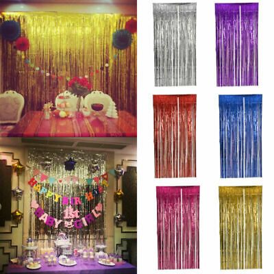 2M-3M Foil Fringe Tinsel Shimmer Curtain Door Wedding Birthday DECORATIONS Party • 2.19£