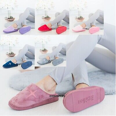 Ladies Womens Warm Slip On Fleece Lined Cotton Clog Hard Sole Slippers Shoes Sz • 8.99£