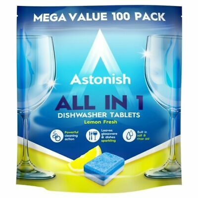 Astonish All In 1 Dishwasher Tablets Lemon Scent (Pack Of 100) (C2171) • 9.99£