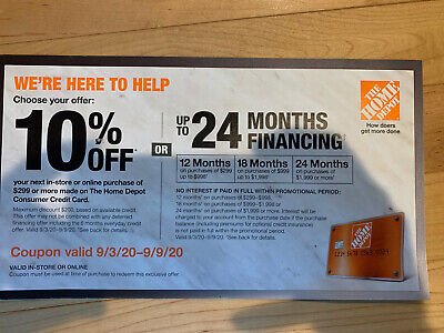 $35 • Buy Home Depot Coupon 10% Off Or Special Financing 10-7-20 Expires Online In-Store