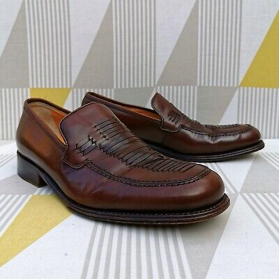 Bally Brown Leather Loafers Dress Shoes With Woven Detail. Mens Size UK 8. • 45£