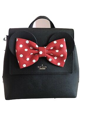 $ CDN319 • Buy NWT KATE SPADE X MINNIE MOUSE SMALL NEEMA Leather BACKPACK BAG BLACK / RED