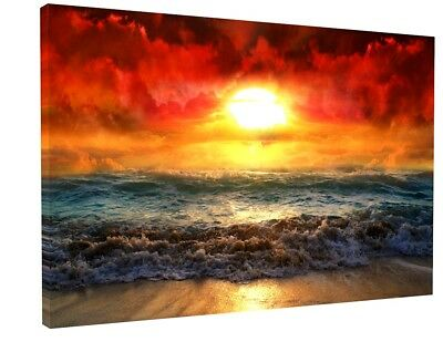 £28.22 • Buy Stunning Red Sunset Beach Waves Canvas Picture Print Wall Art 1012
