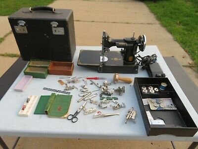 $365 • Buy Vintage 1936 Singer 221 FEATHERWEIGHT Sewing Machine In Case W/MANY Extras~WORKS
