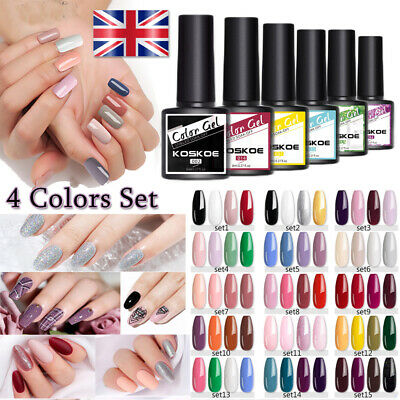 4 Bottles/Set KOSKOE UV Gel Nail Polish Soak Off Nail Art Gel Varnish Decors Kit • 4.99£
