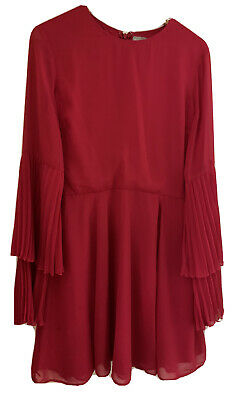 AU34 • Buy Romantic Ruffle Sleeve Fuschia Pink ASOS Dress UK 14