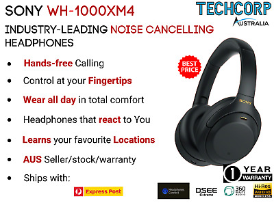 AU385 • Buy Sony WH-1000XM4 Wireless Noise Cancelling Headphones Black- Brand New Sealed Box