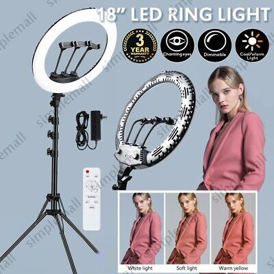65W Video Photo Ring Light Lighting Kit 18inch Outer Dimmable LED + Light Stand • 55.99£