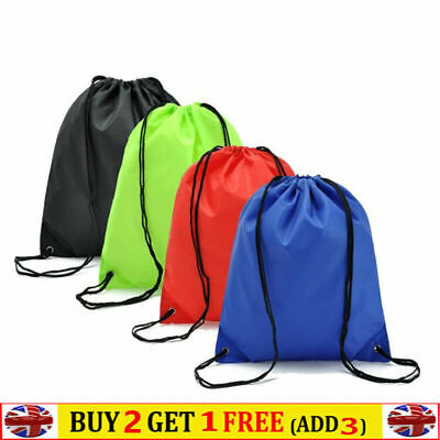Drawstring Nylon School Sports Bag Backpack Cinch Sack String Bag Waterproof • 3.49£