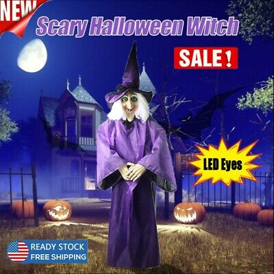 $ CDN54.28 • Buy Halloween Animated Purple Witch Hanging House Prop Decorations With LED Eyes