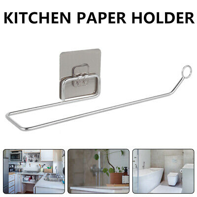 Kitchen Roll Holder Wall Mounted Self-Adhesive Tissue Toilet Paper Towel Rack • 5.69£