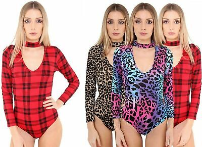 £4.99 • Buy New Ladies Cut Out High Choker Keyhole Neck Printed Leotard Bodysuits
